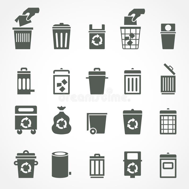 Kubeł na śmieci i przetwarza kosz ikony ilustracja wektor