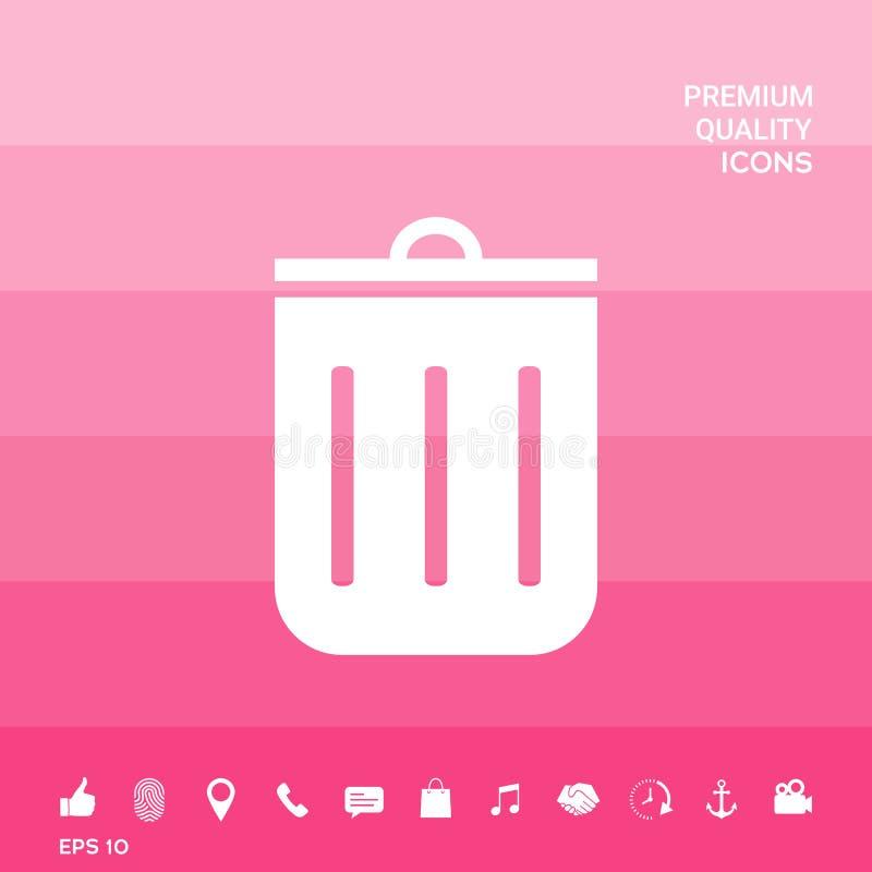 Kubeł na śmieci ikona ilustracja wektor