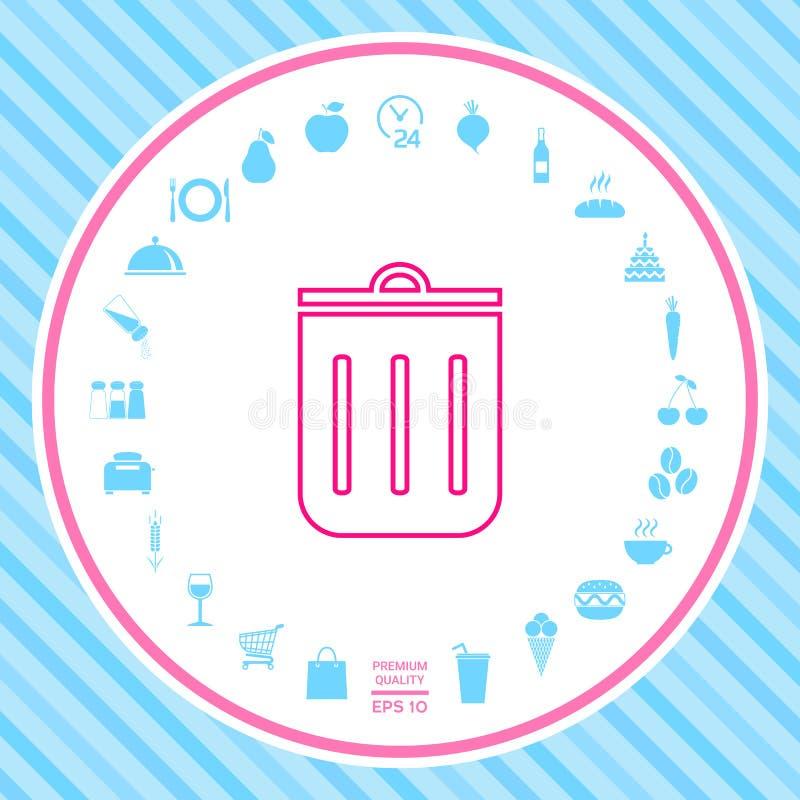 Kubeł na śmieci, ikona royalty ilustracja