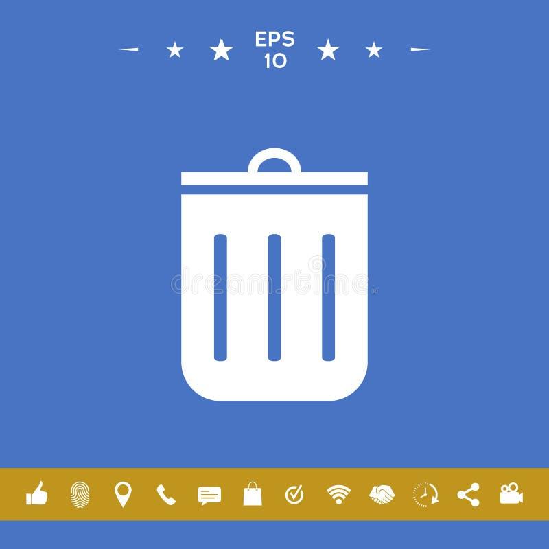 Kubeł na śmieci ikona ilustracji
