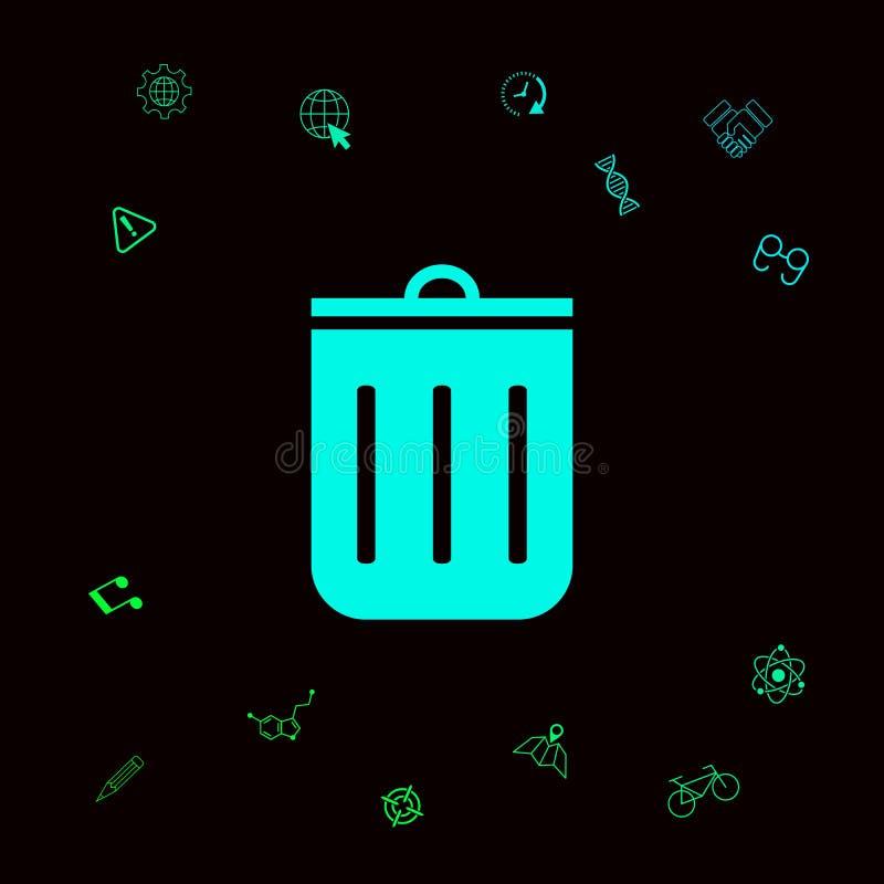 Kubeł na śmieci ikona Graficzni elementy dla twój designt ilustracji