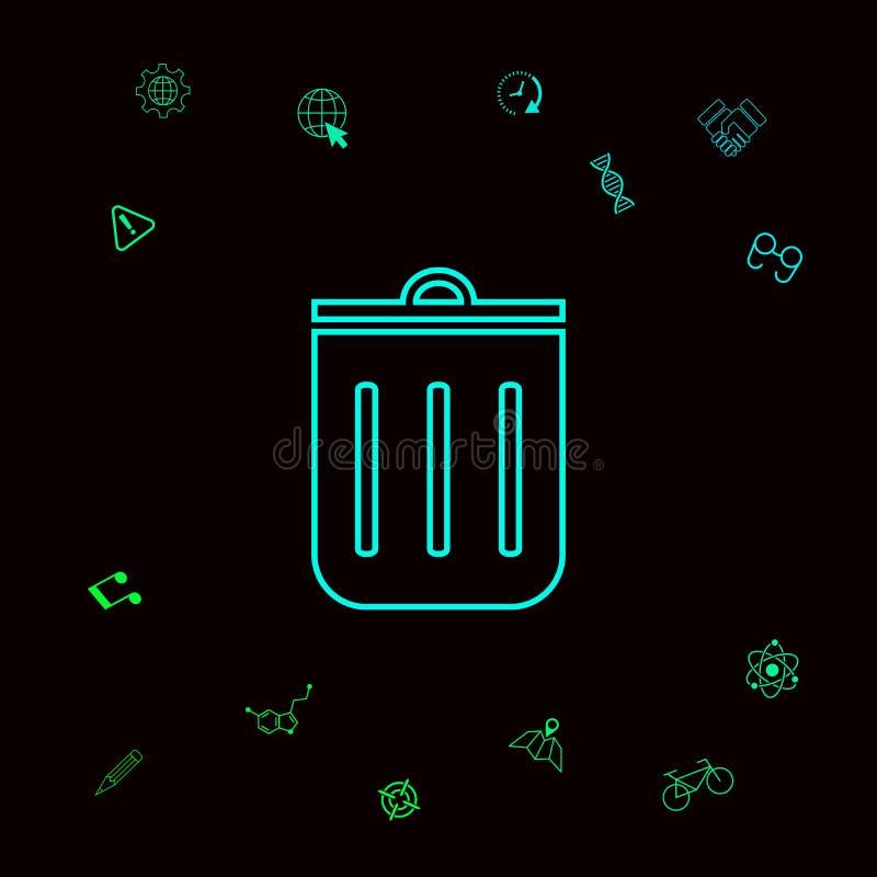 Kubeł na śmieci, ikona Graficzni elementy dla twój designt royalty ilustracja