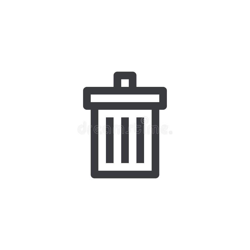 Kubeł na śmieci ikona Wektorowa kontur ikona Deleatur symbol Śmieci znak Element dla projekta mobilnego app strony internetowej l ilustracja wektor