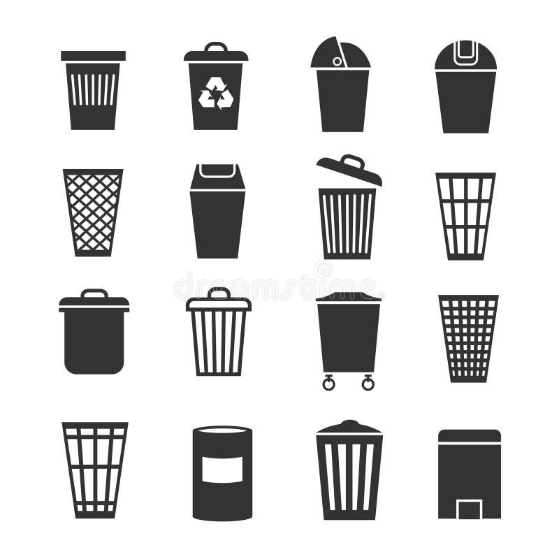 Kubeł na śmieci, jałowy kosz i kosz, śmieciarskie wektorowe ikony ilustracji