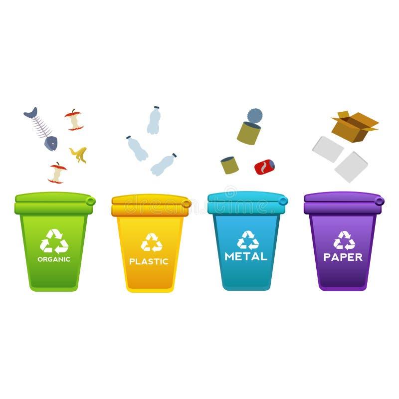 Kubeł na śmieci kołowa kosz ikona, out, rzutu śmieci, odpady, butelka, huśtawkowy jabłko, papier, niepotrzebne rzeczy, rzucać Pła royalty ilustracja