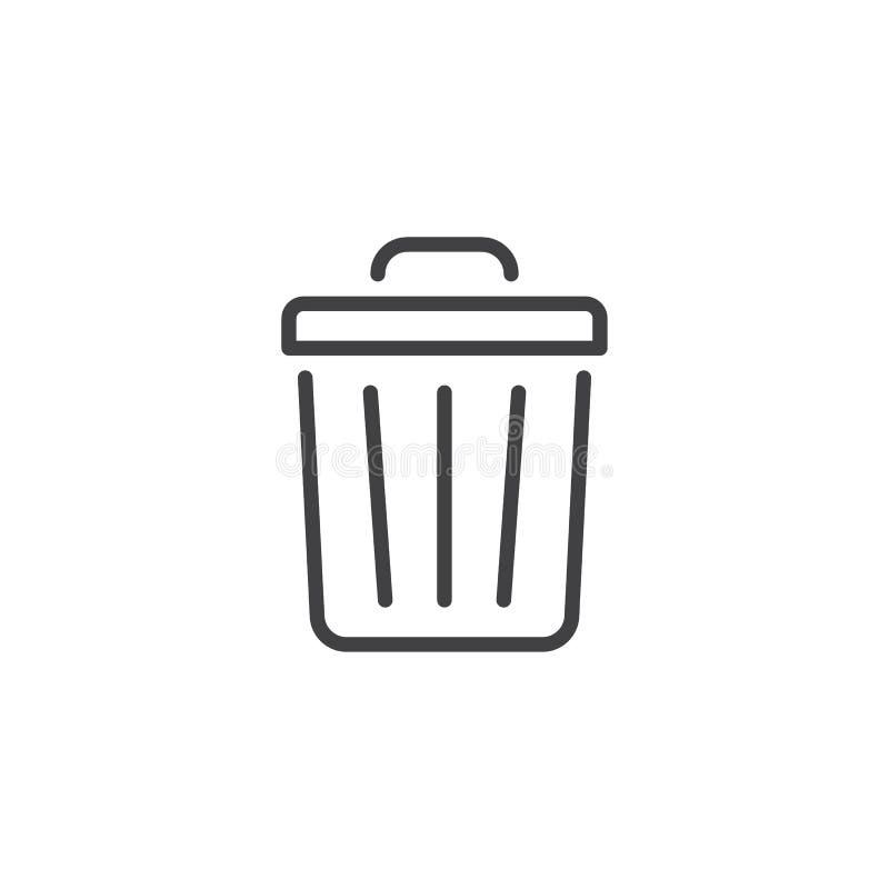 Kubeł na śmieci kreskowa ikona royalty ilustracja