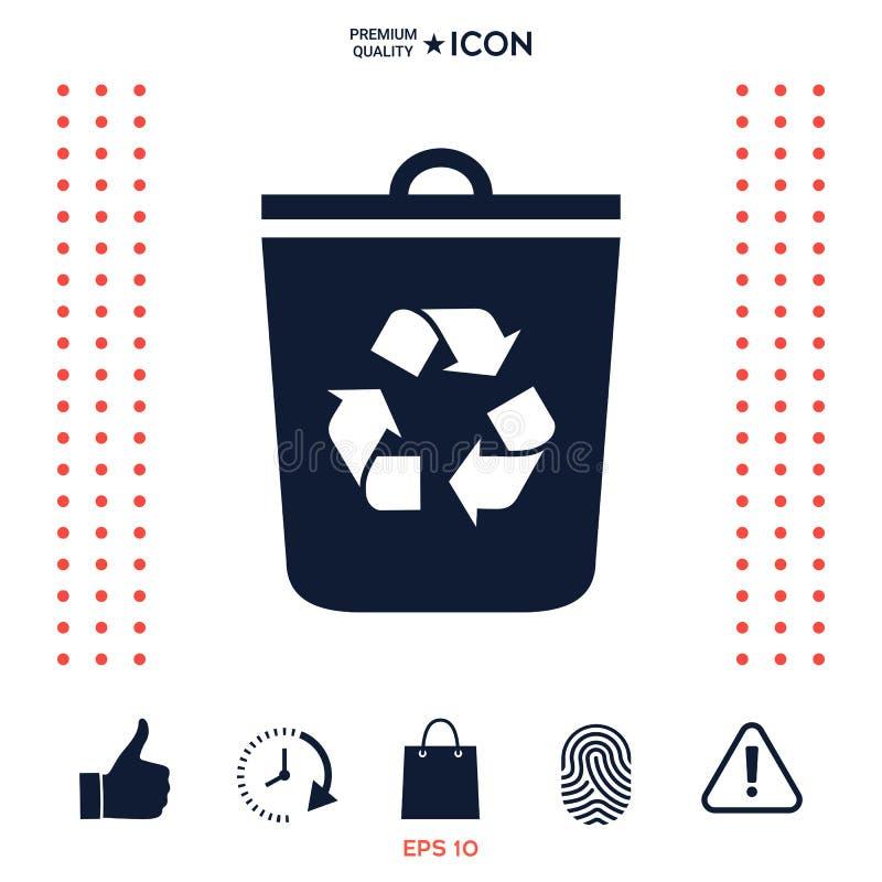 Kubeł na śmieci, przetwarza kosz ikonę royalty ilustracja