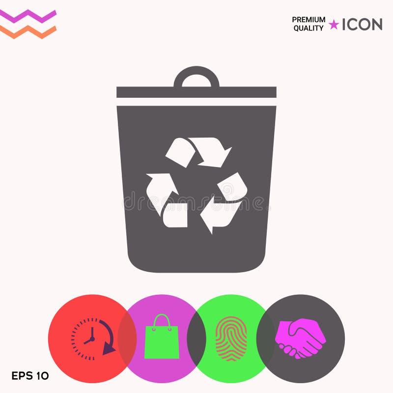 Kubeł na śmieci, przetwarza kosz ikonę ilustracja wektor