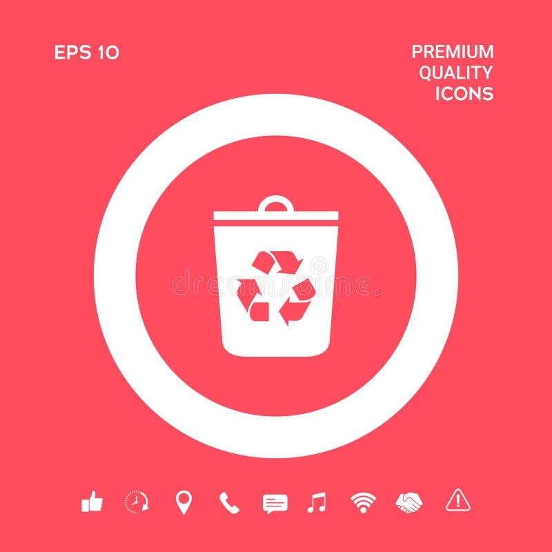 Kubeł na śmieci, przetwarza kosz ikonę Graficzni elementy dla twój projekta ilustracja wektor