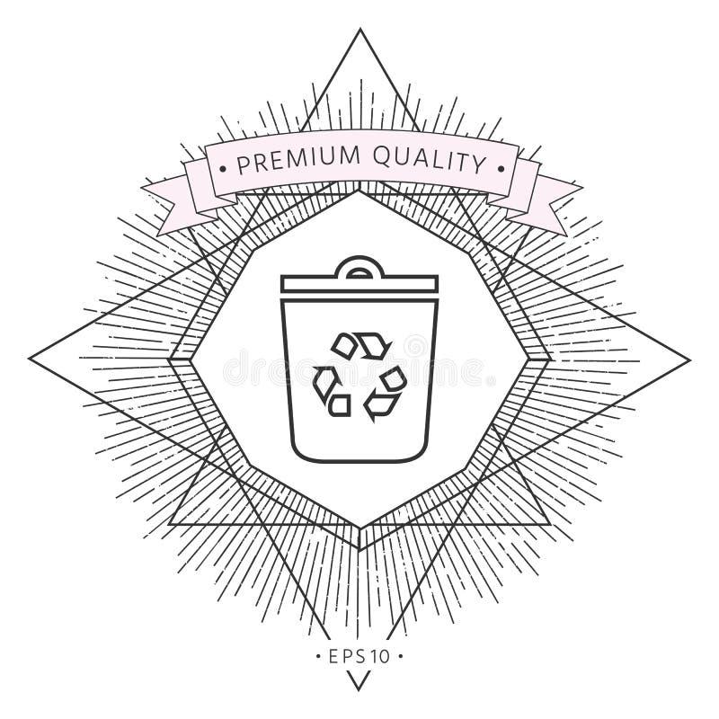 Kubeł na śmieci, przetwarza kosza symbolu ikonę ilustracja wektor
