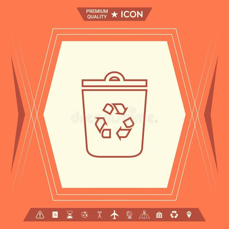 Kubeł na śmieci, przetwarza kosza symbolu ikonę ilustracji