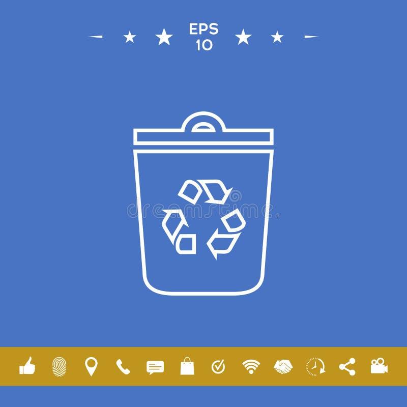 Kubeł na śmieci, przetwarza kosza symbolu ikonę royalty ilustracja