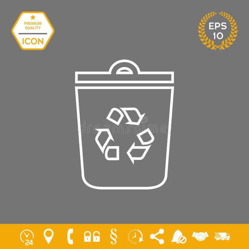 Kubeł na śmieci, przetwarza kosza symbolu ikonę Graficzni elementy dla twój projekta ilustracji