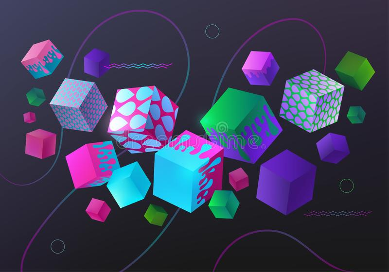 Background with multicolored decorative 3D cube. stock illustration