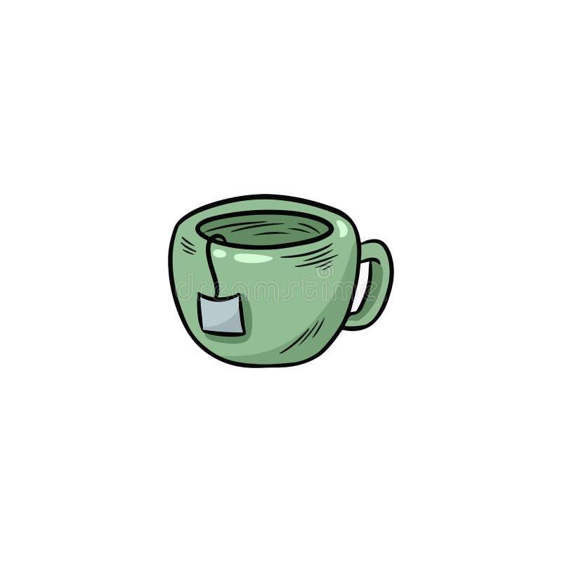 Kubek gorącej herbacianej ręki doodle kolorowa ikona ilustracji