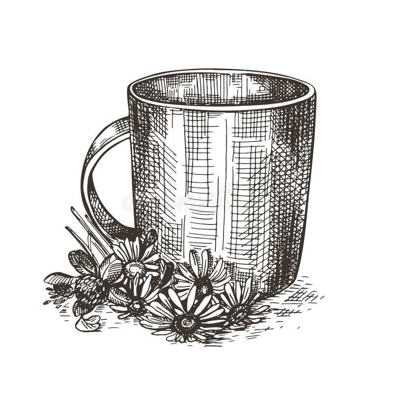 Kubek i bukiet wildflowers Nakre?lenie stylowa ilustracja ilustracji
