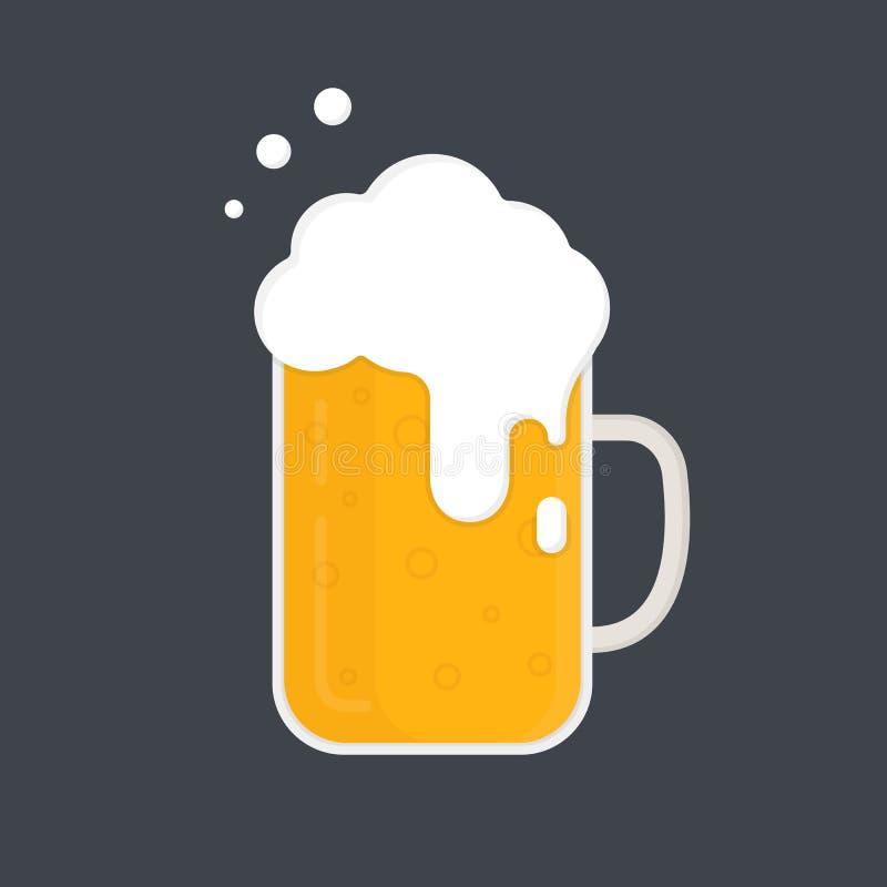 kubek piwa Piwny kubek z mnóstwo pianą przygotowywa ikonę Płaski projekt royalty ilustracja