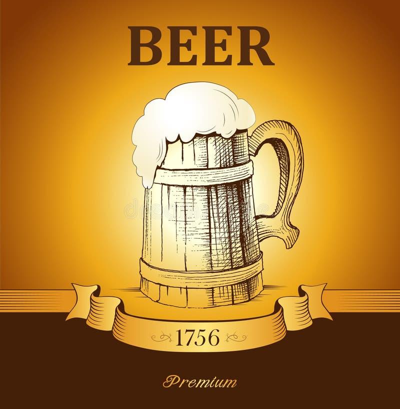 kubek piwa rocznika kubek ilustracja wektor