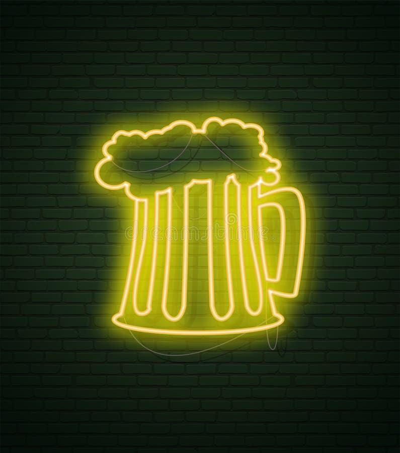 Kubek piwny Neonowego znaka i zieleni ściana z cegieł Realistyczny znak St Patricks dzień ca royalty ilustracja