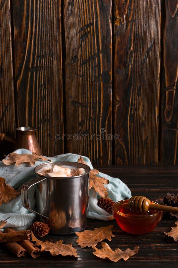 Kubek z żeliwa z kakao, miodu, pianki, przyprawy na tle chusty, suche liście na drewnianym stole Nastrój jesienny, ocieplenie obrazy royalty free