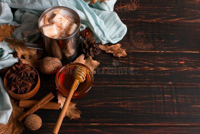 Kubek z żeliwa z kakao, miodu, pianki, przyprawy na tle chusty, suche liście na drewnianym stole Nastrój jesienny, ocieplenie obrazy stock