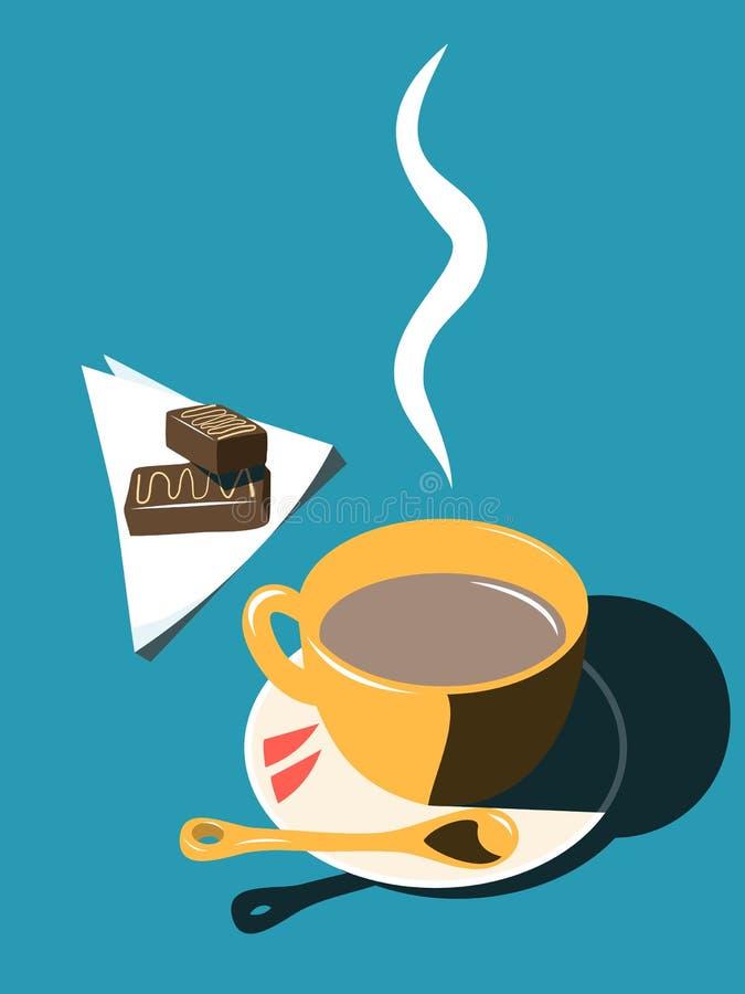 Kubek z gorącą czekoladą i cukierkami na stole zdjęcia stock