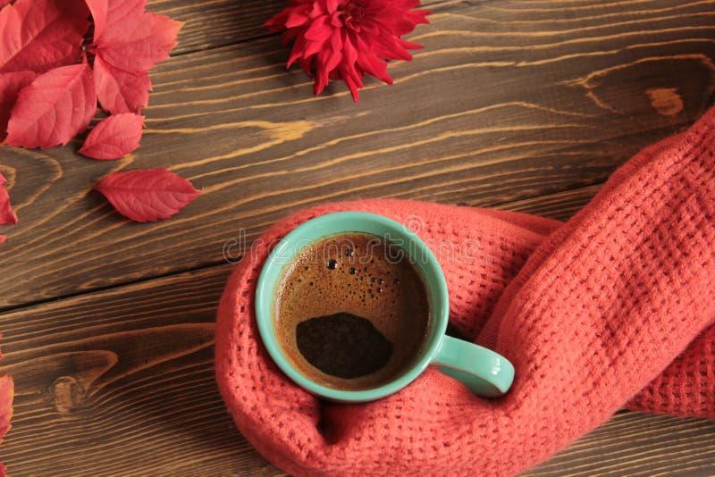 Kubek z kawą ciepłą, zawijający w szaliku na tle fotografia royalty free