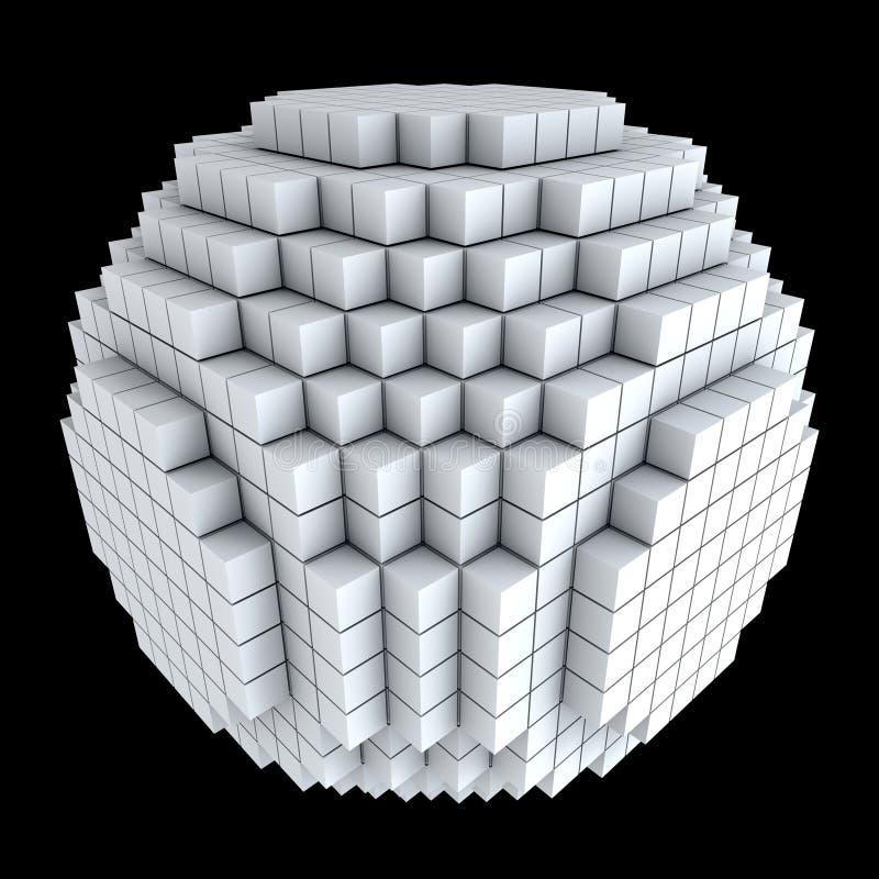 kuber 3d gjorde spheren stock illustrationer