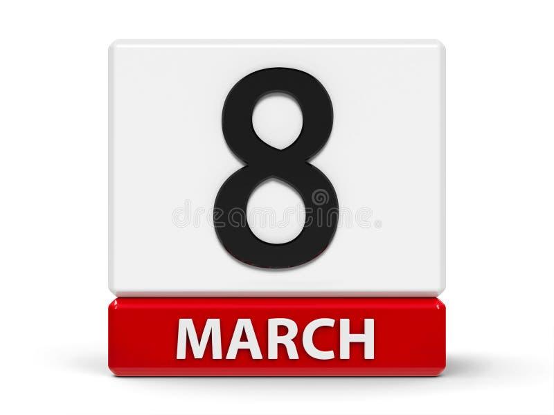 Kuber calendar 8th mars royaltyfri illustrationer
