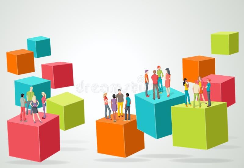 kuber 3d med affärsfolk stock illustrationer
