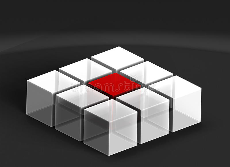 kuber 3D på mörk bakgrund stock illustrationer
