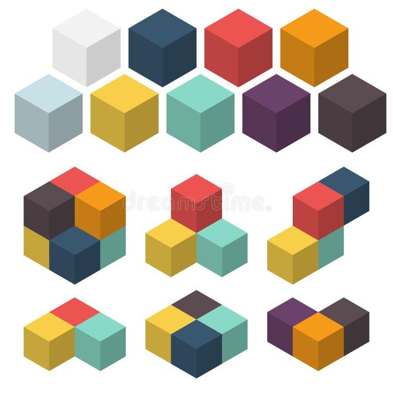 kuber 3d Uppsättning av kulöra rumsliga diagram klar vektor för nedladdningillustrationbild stock illustrationer