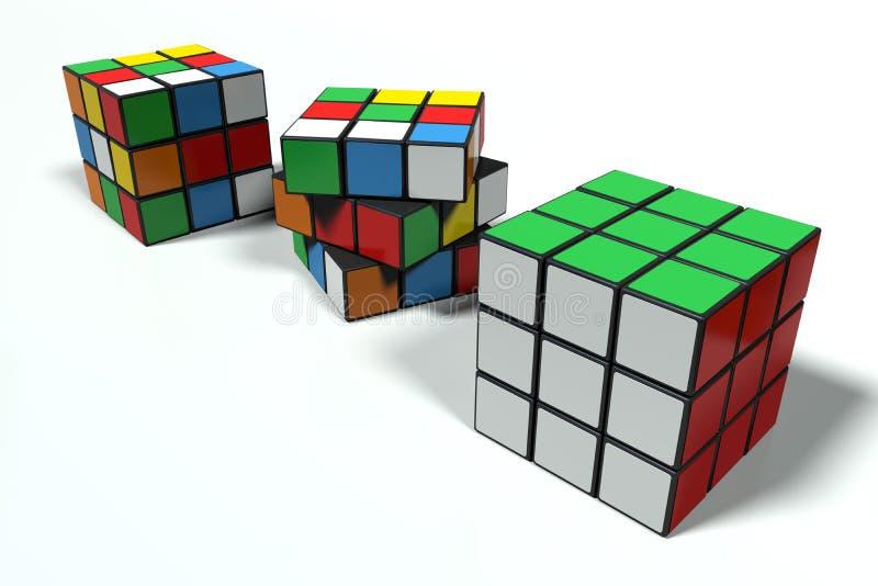 Kuber för Rubik ` s, 3 etapper, ultra hög upplösning royaltyfri illustrationer