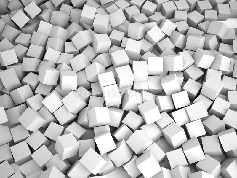 Kuber gör sammandrag bakgrund, 3D stock illustrationer