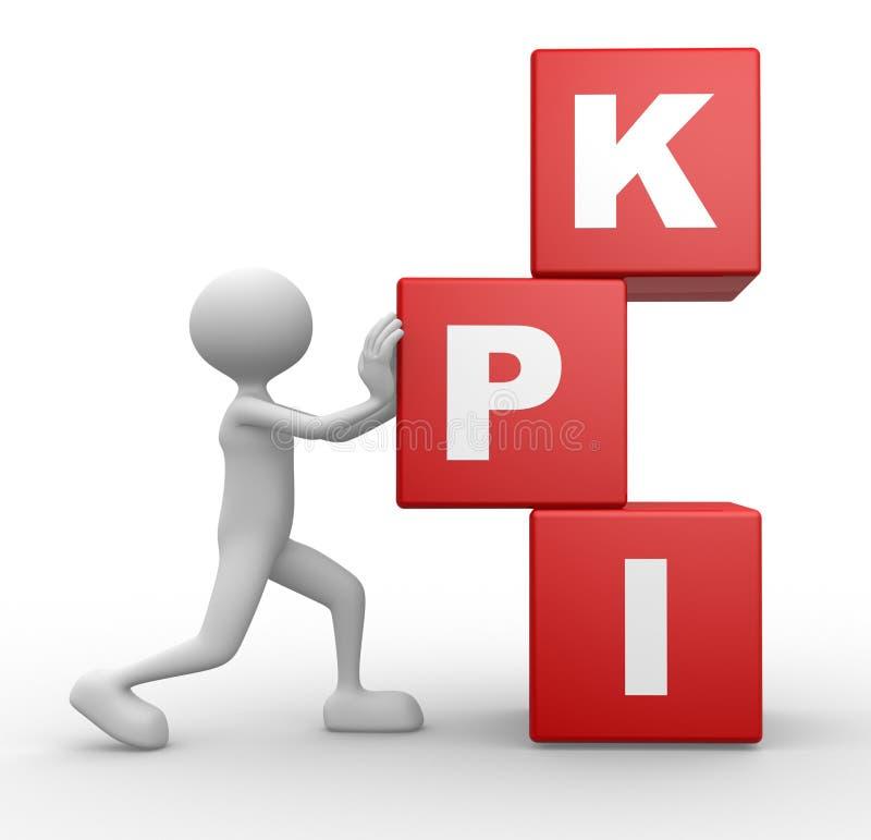 Kuber och KPI (indikatorn för den nyckel- kapaciteten) royaltyfri illustrationer