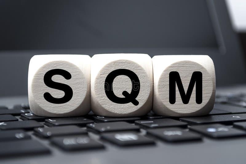 Kuber tärnar med ledning för SQM-servicekvalitet royaltyfria bilder
