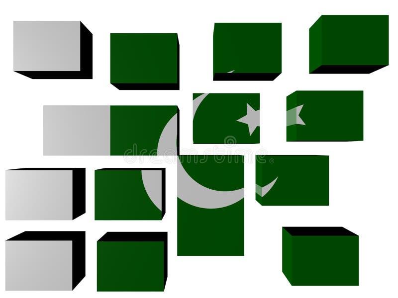kubflagga pakistan royaltyfri illustrationer
