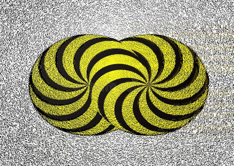 kubiczny mozaika piksli usterki skutek kręceni kształty, kolorów żółtych okręgi z czerń lampasami na białym tle abstrakcja 3d royalty ilustracja