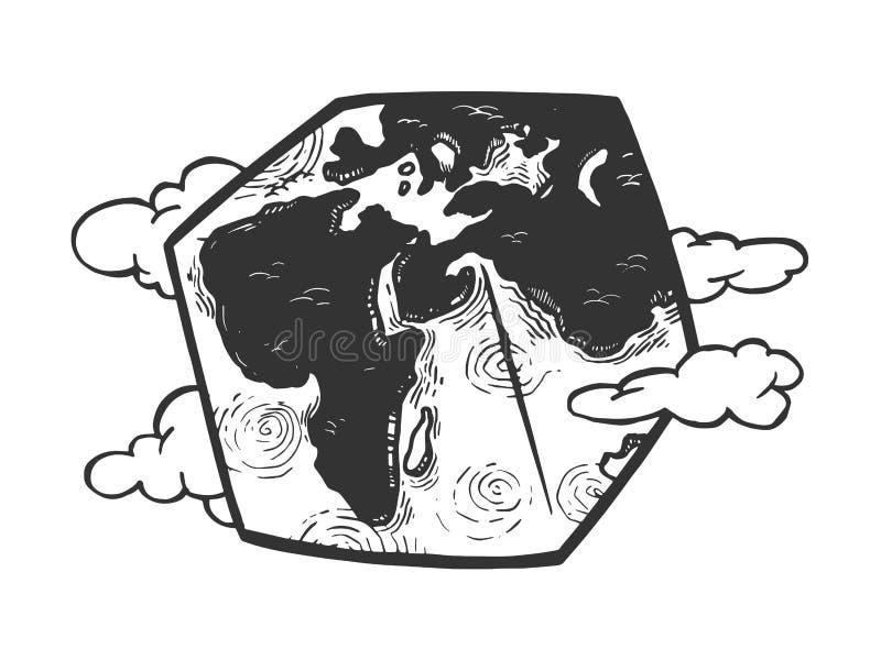 Kubiczny planety ziemi rytownictwa wektor royalty ilustracja
