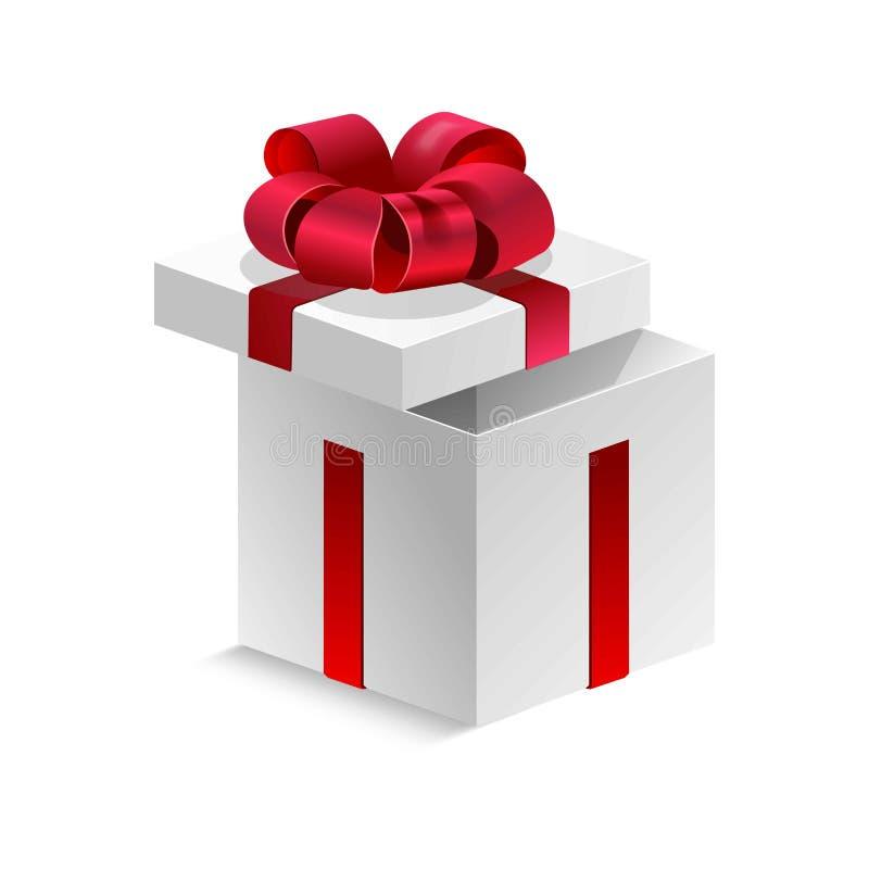Kubiczny prezenta pudełko z jedwabniczym czerwonym faborkiem i dużym łękiem odizolowywał kreskówki płaską wektorową ilustrację na ilustracji