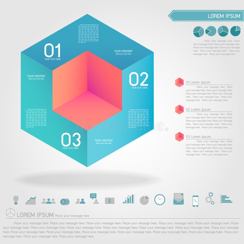 Kubiek infographic en bedrijfspictogram royalty-vrije illustratie