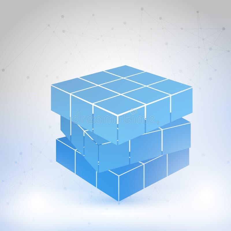 Kubik som konstrueras av många kvarter vektor illustrationer