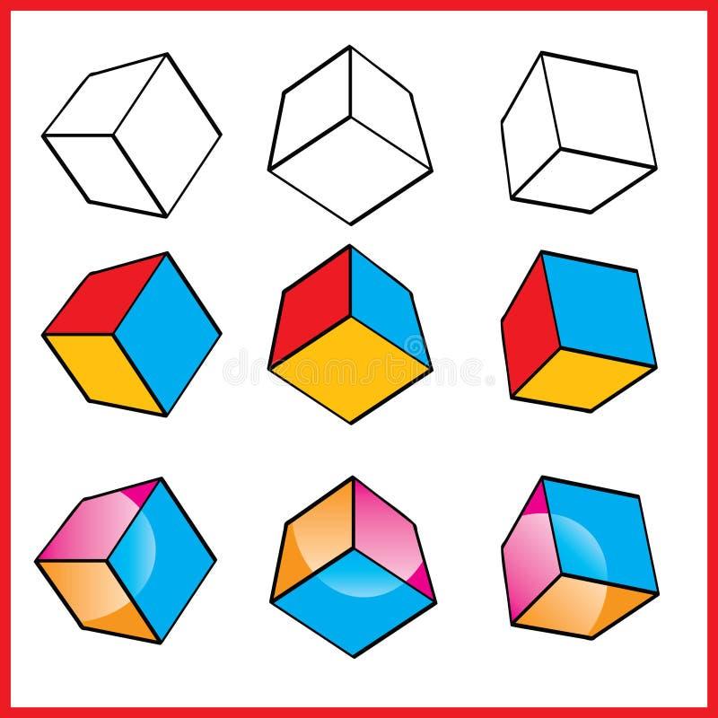 kubiklogovektor vektor illustrationer