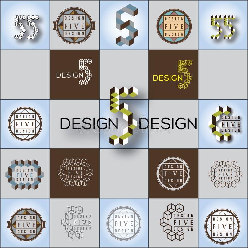 Kubikuppsättning för formvektorlogoer royaltyfri illustrationer
