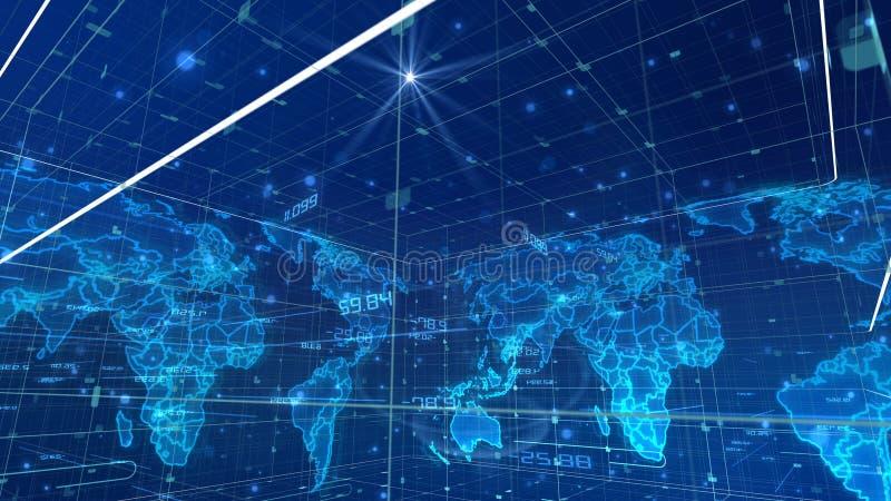 Kubikvärldskarta för Digital kommunikation royaltyfri illustrationer