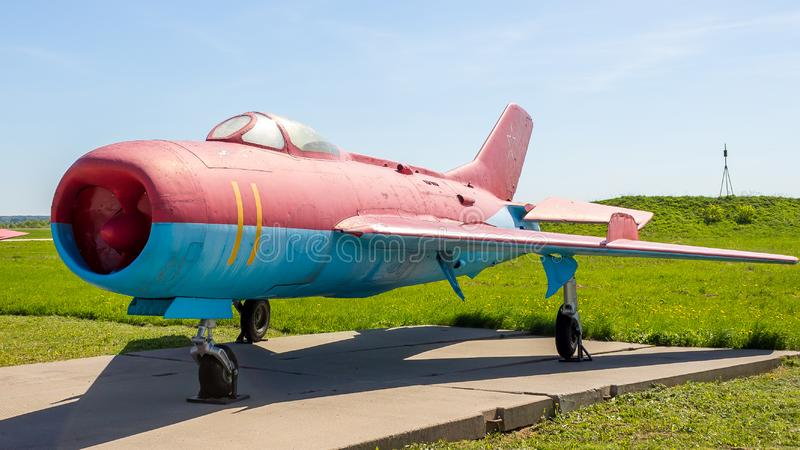Historical exhibits of Russian military aircraft at the Kubinka airbase in the Moscow Region, Russia royalty free stock photo