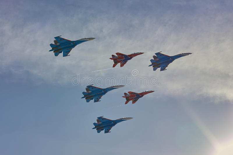 KUBINKA, MOSCOW REGION, RUSSIA Aerobatic team `Swifts` and `Russian knights` aircraft `SU-30 and MiG-29` stock images