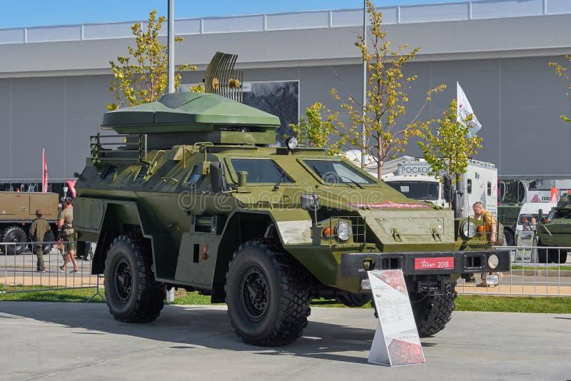 KUBINKA, RUSLAND, AUGUSTUS 24, 2018: Speciale militair van UAV van de wegvrachtwagen van op afstand bestuurde vliegtuigenonderver royalty-vrije stock foto's