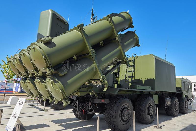 KUBINKA, RUSSIA, AUG.24, 2018: Anti battle ship missile system BAL-E with missile X-35. Tactical weapons systems on truck chassis stock photos