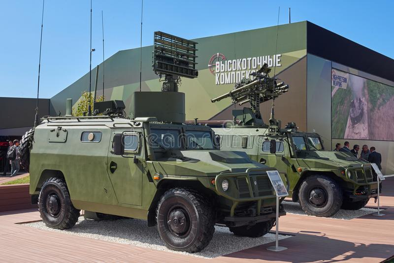KUBINKA, RUSSIA, AUG.24, 2018: Military armored trucks Tigr equipped with air defense system and reconnaissance. Military armored royalty free stock photo